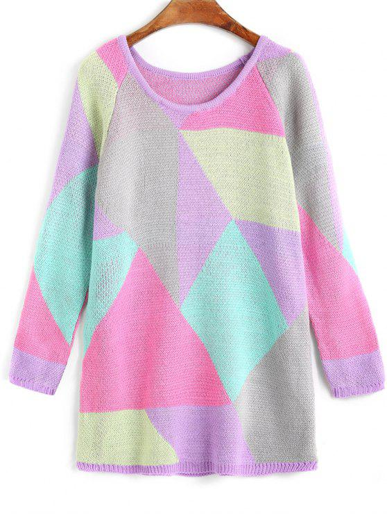 new Raglan Sleeve Geometric Tunic Sweater - COLORMIX ONE SIZE