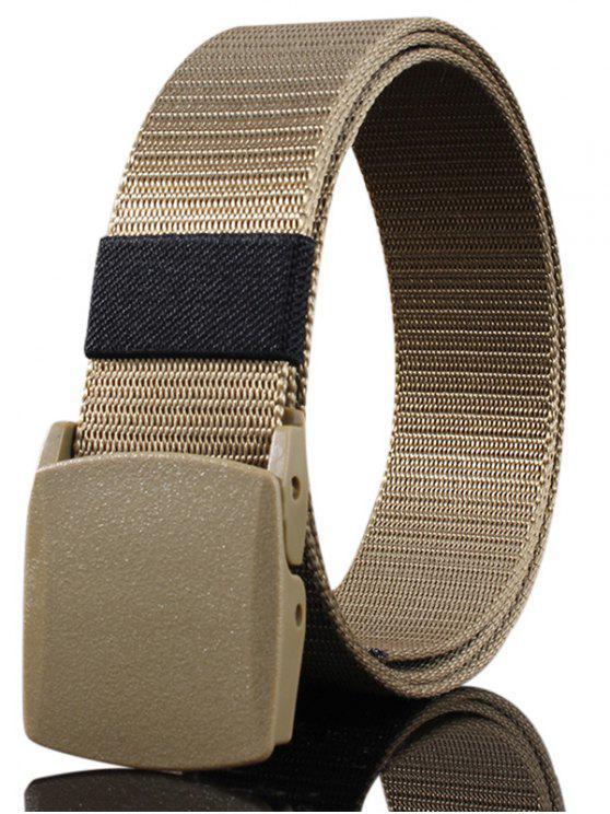 حزام مشبك معدني مزين قماش حزام - كاكي