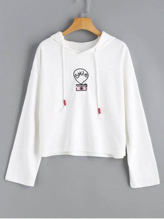 trendy Letter Embroidered Drop Shoulder Drawstring Hoodie - WHITE ONE SIZE