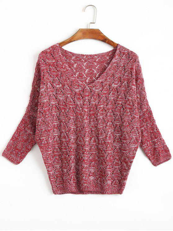 buy Open Knit Batwing Sleeve V Neck Sweater - DARK RED ONE SIZE