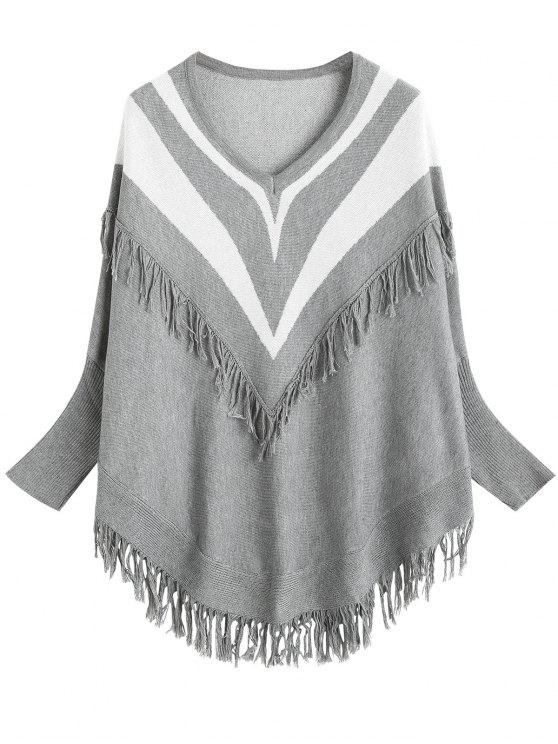 womens Batwing Sleeve Striped Fringed Sweater - GRAY ONE SIZE