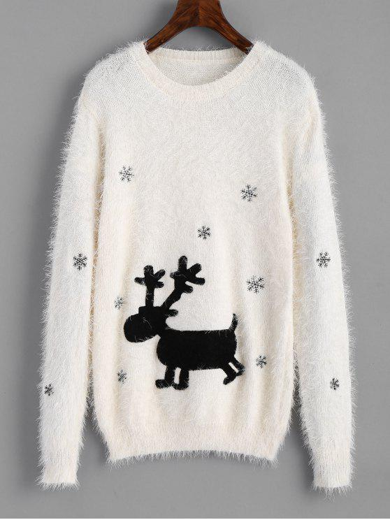 Elk Patches Textured Christmas Sweater WHITE: Sweaters ONE SIZE ...