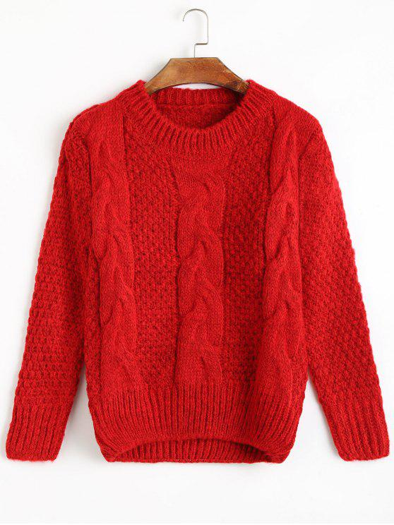 ladies Cable Knit Crew Neck Jumper Sweater - RED ONE SIZE