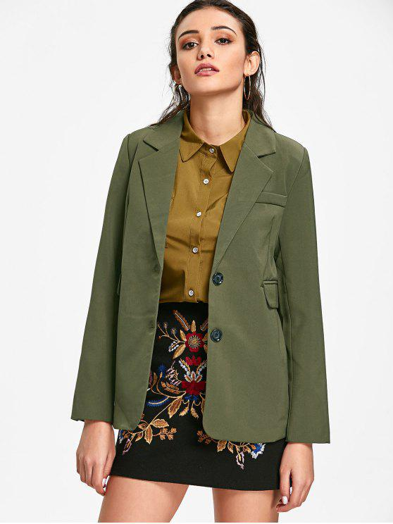 womens Lapel Single Breasted Blazer - ARMY GREEN M