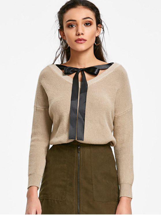 latest V Neck Bow Tie Sweater - LIGHT KHAKI ONE SIZE