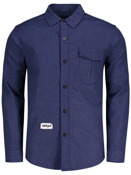 Taschen-Patch-Design-Shirt - Blau 2XL