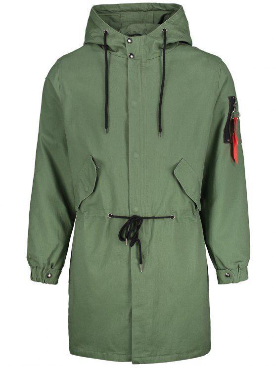 shop Back Slit Hooded Drawstring Coat - ARMY GREEN 5XL