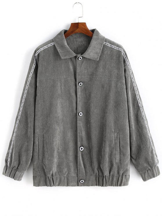 Button Up Graphic Corduroy Jacket Gray Jackets Coats 2xl Zaful