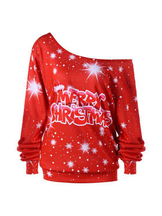 Sweat-shirt Imprimé Flocon de Neige et Message de Noël Grande Taille à Épaule Nue - Rouge XL