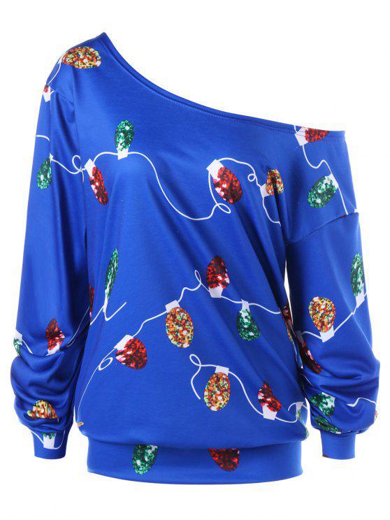 Felpa con collo obliquo leggero a stringhe di Natale Plus Size - Blu Scuro 2XL