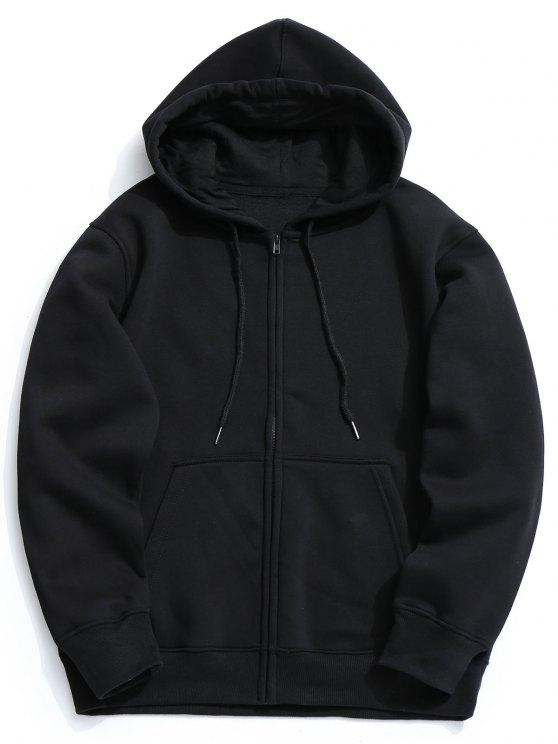 Sudadera con capucha y cremallera de bolsillo de lana de fleece - Negro L