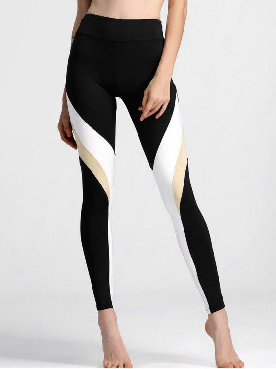 affordable Color Block High Waisted Yoga Leggings - BLACK L