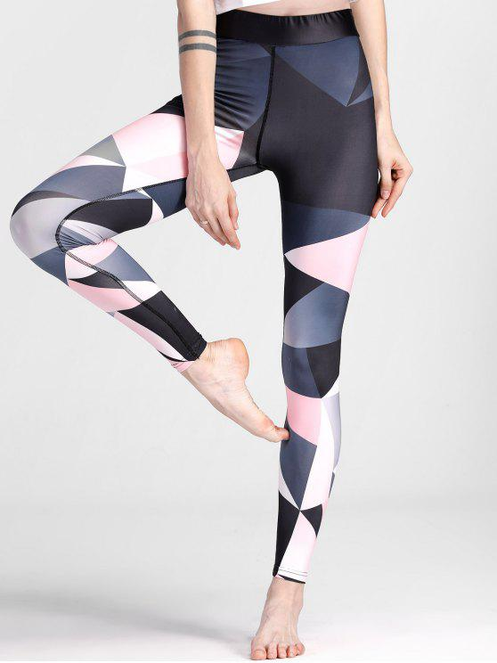 Color Block Geometric Yoga Leggings - Colores Mezclados XL