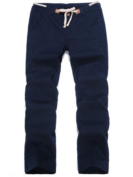 hot Linen Drawstring Pants - CADETBLUE 2XL