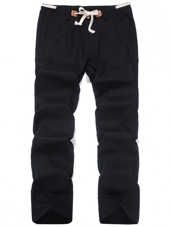 shops Linen Drawstring Pants - BLACK 2XL