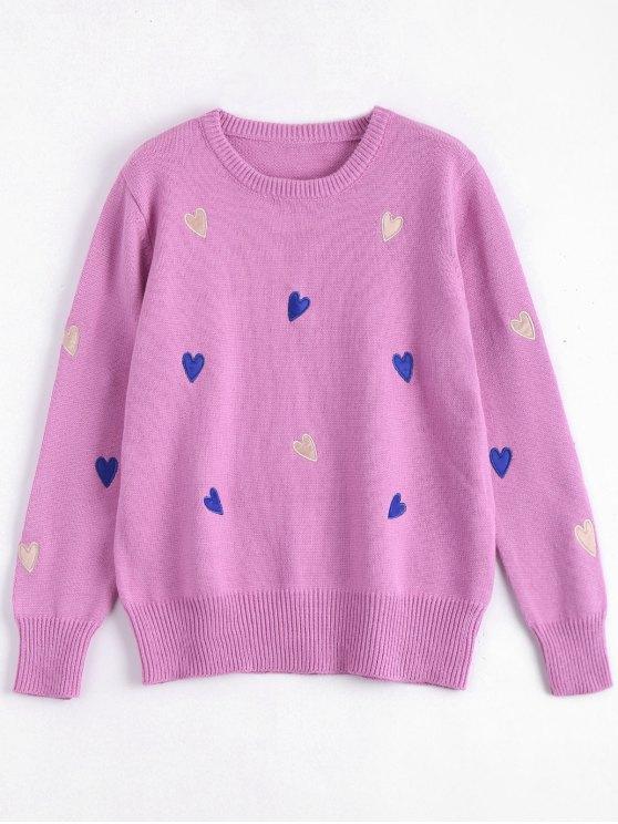Herz bestickt Plus Size Pullover - Tutti Frutti 4XL