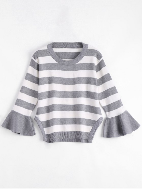 best Striped Crew Neck Plus Size Sweater - GRAY ONE SIZE