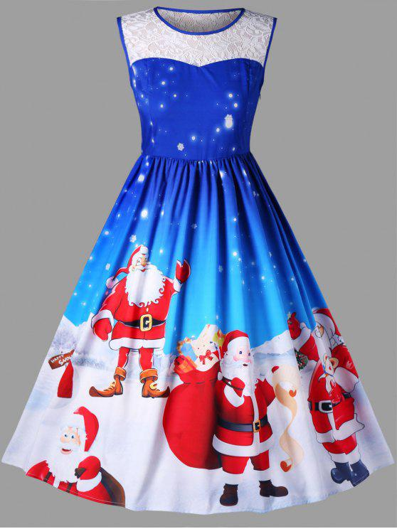 Robe Trapèze Sans Manches Motif Père Noël Grande Taille - Bleu 3XL