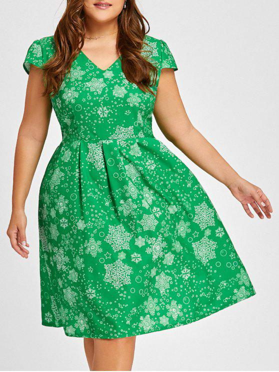 affordable Christmas Snowflake Vintage V Neck Plus Size Dress - GREEN 4XL