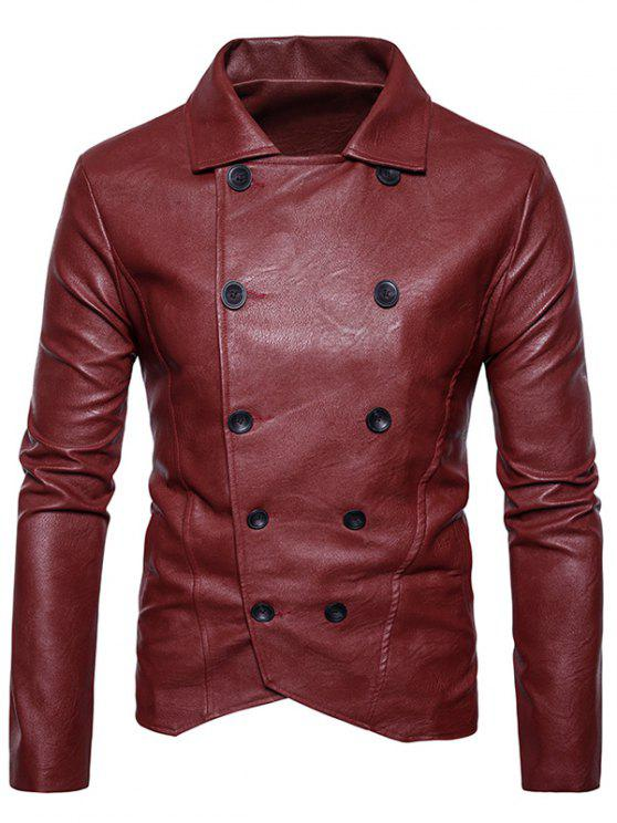 unique Double Breasted PU Leather Jacket - RED XL