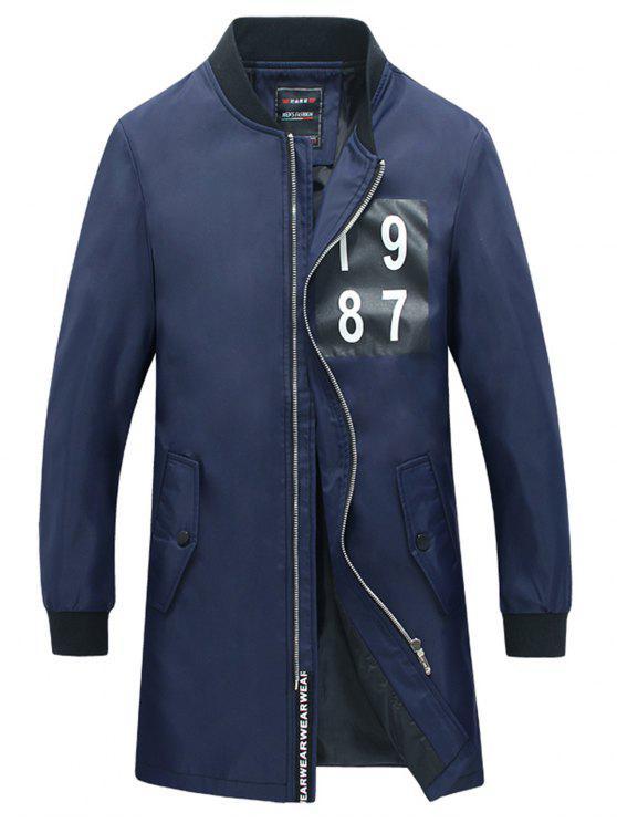 Nummer Print Slim Fit Mantel - Blau XL
