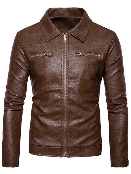 shop Turndown Collar Faux Leather Zip Up Jacket - KHAKI M
