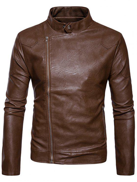 affordable Stand Collar Panel Design Faux Leather Zip Up Jacket - KHAKI XL