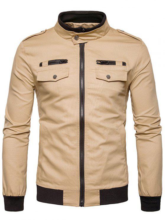new Rib Stand Collar Epaulet Zip Up Cargo Jacket - KHAKI XL
