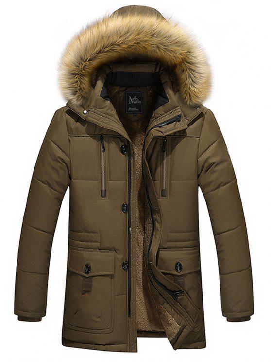 55185222772d Artificial Fur Hooded Parka Jacket BROWN  Jackets   Coats 5XL