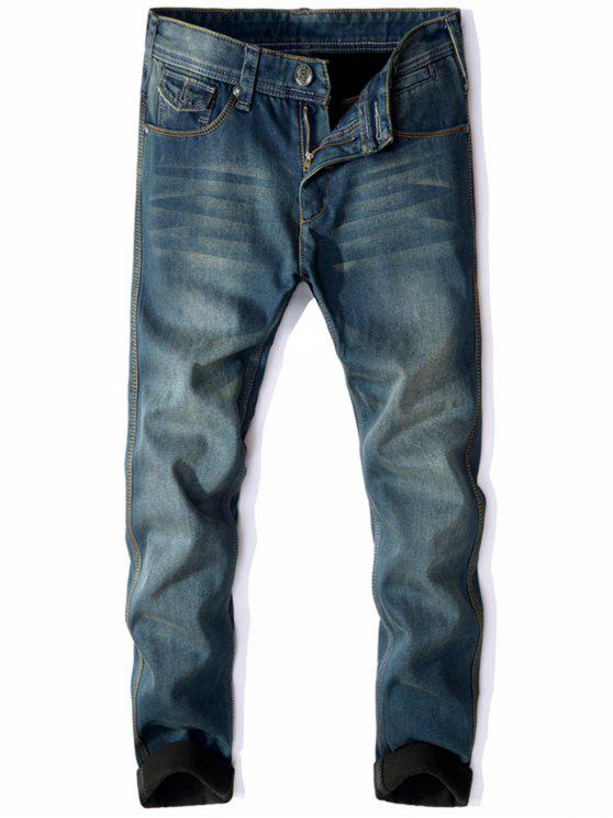 shops Zip Fly Flocking Thermal Denim Pants - BLUE 38