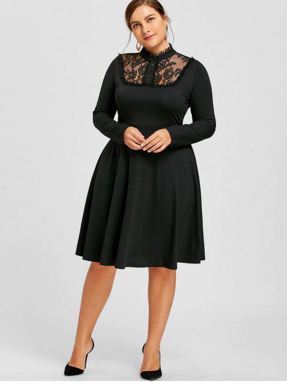 2019 Plus Size Lace Trim Fit And Flare Dress In Black Xl Zaful