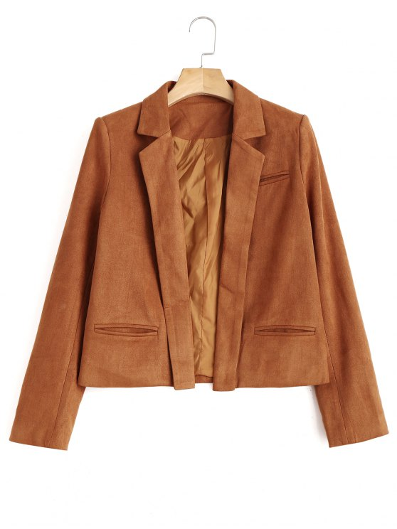 outfits Lapel Cropped Faux Suede Jacket - LIGHT BROWN L