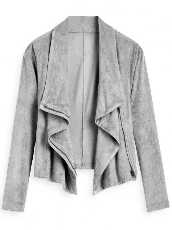sale Zip Up Cropped Faux Suede Jacket - GRAY M