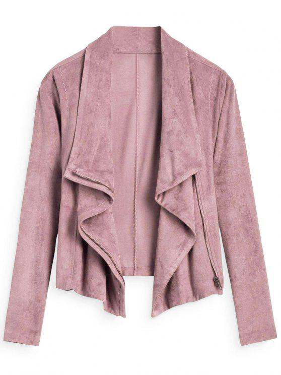 latest Zip Up Cropped Faux Suede Jacket - PINK S