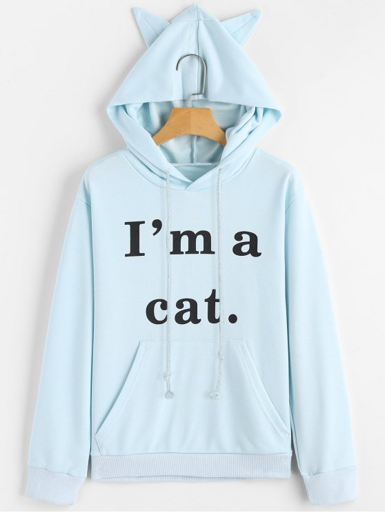shops Front Pocket Letter Graphic Cat Hoodie - LIGHT BLUE S