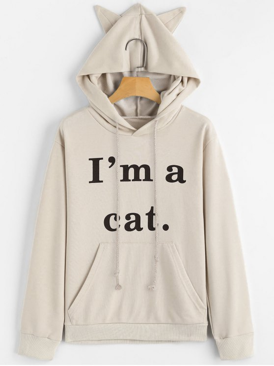 online Front Pocket Letter Graphic Cat Hoodie - APRICOT XS