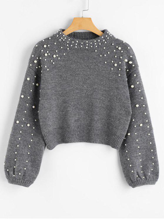 lady Faux Pearl Mock Neck Sweater - GRAY L