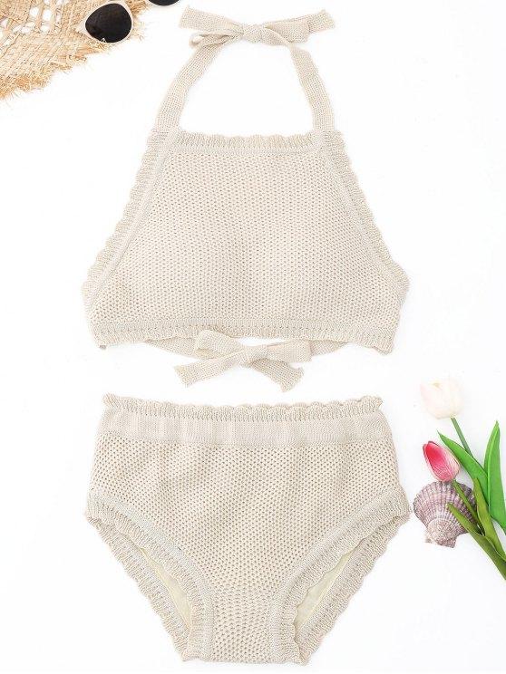 sale Scalloped High Neck Crochet Bikini Set - BEIGE ONE SIZE