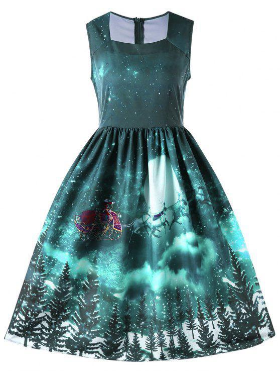 Christmas Green Dress.Christmas Square Neck Sleeveless 50s Swing Dress Blue Green Red