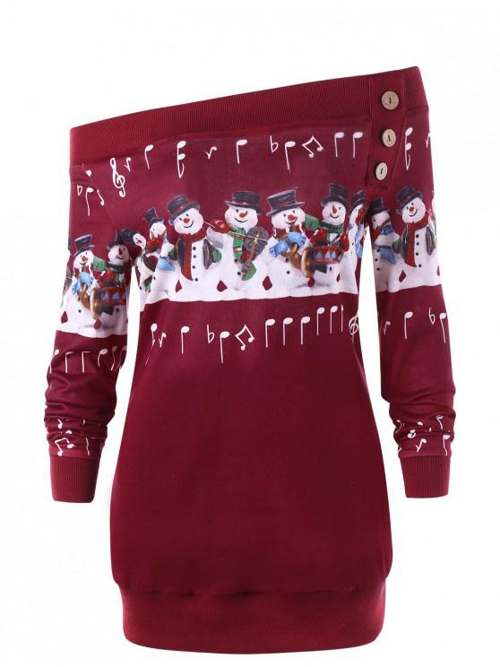 womens Christmas Plus Size Snowman Off The Shoulder Sweatshirt - RED 2XL