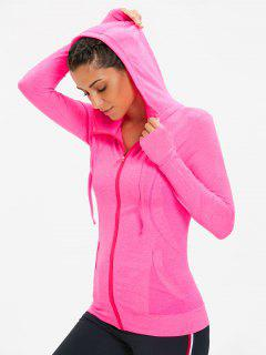Zip Up Heathered Sporty Hoodie - Fluorescent Pink L