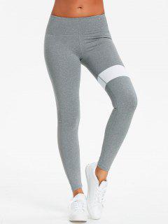 Pantalones Deportivos Con Panel De Malla De Dos Tonos - Gris Xl