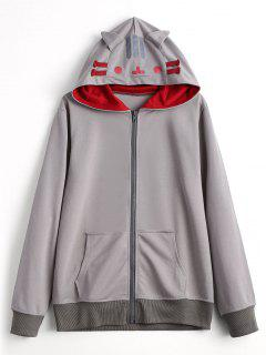 Contrasting Zip Up Cat Hoodie - Gray L