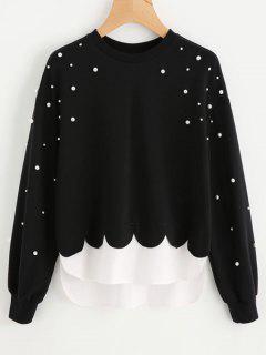 Faux Pearls Panel Scalloped Sweatshirt - Black M