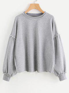 Frayed Hem Ruffled Oversized Sweatshirt - Gray L