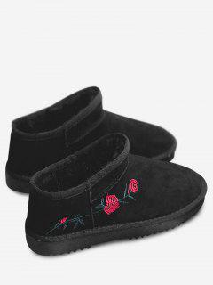 Flower Embroidered Snow Boots - Black 40