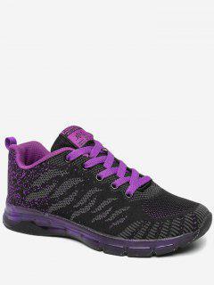 Breathable Color Block Sneakers - Black Purple 36