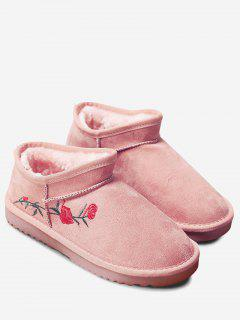 Flower Embroidered Snow Boots - Pink 36