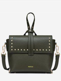 Faux Leather Studs Handbag - Olive Green