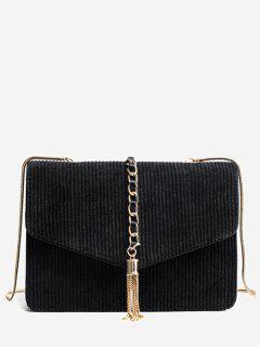 Tassel Chain Suede Crossbody Bag - Black